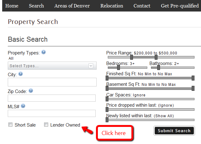 search1 How to search for Lender Owned / Fixers / HUDs
