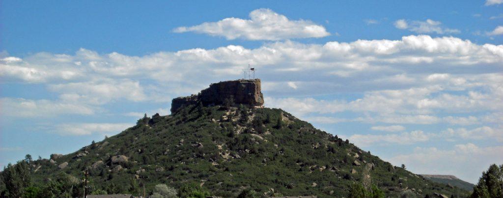 The Castle Rock over the City of Castle Rock, CO.