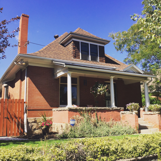 The Classic Cottage is essentially one floor version of the popular Four Square design. It features a hipped roof, a central dormer, flared eaves, and thick porch posts. This style is found throughout neighborhoods in Denver built between 1900-1930.