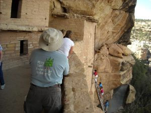 Steep ladders up to Mesa Verde Cliff dwellings