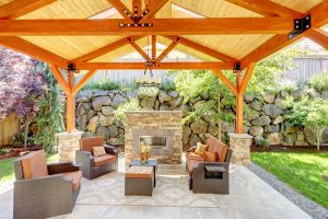 Exterior covered patio with fireplace and furniture are very desirable in today's luxury homes..